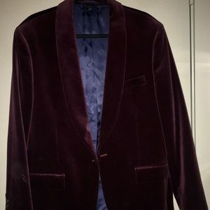 JCrew Men's Burgundy Velvet Blazer Shawl Lapel 44R